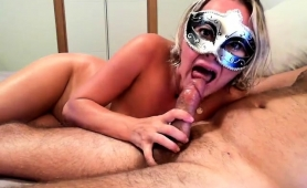 masked-blonde-with-big-tits-pleases-herself-and-blows-a-cock