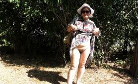Naughty Mature Lady Flashes Her Hairy Beaver In The Outdoors