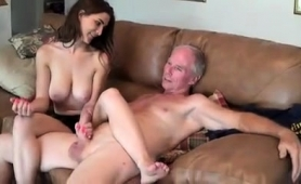 Big Breasted Teen Offers A Horny Old Man A Sensual Handjob