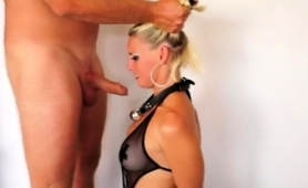 Wild Blonde In Lingerie Shows Off Her Deepthroating Skills