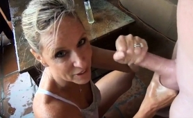 Naughty Mature Blonde Gives A Perfect Pov Handjob Outside