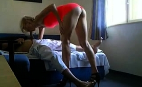 Slender Blonde With Sexy Long Legs Feeds Her Need For Cock